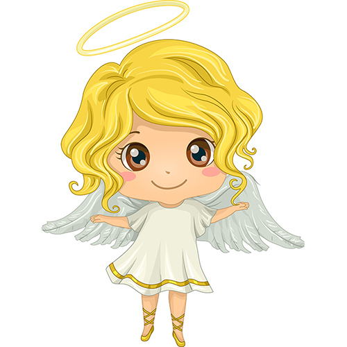 Cartoon Angel with Golden Hair and Brown Eyes | The Joy of Giving supports families in need in Collier County